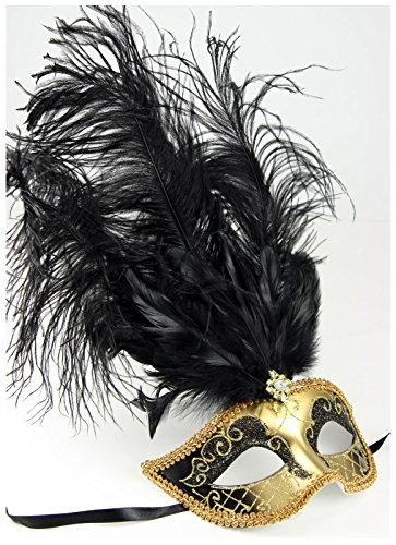 Women's Feather Topped Masquerade Mask (Gold/Black)