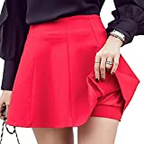 Womens Elastic Waist A-Line Mini Skirts with Stretch Shorts