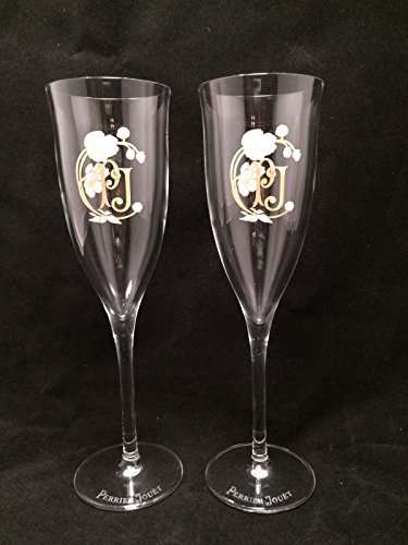 Set of 2 Perrier Jouet Champagne Belle Epoch Hand Painted Flutes Glasses