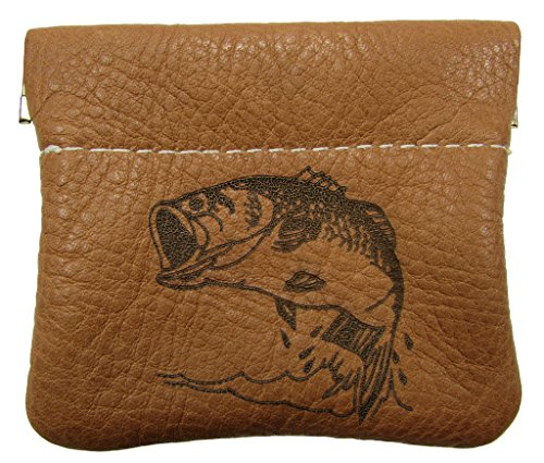 North Star Men's Leather Squeeze Coin Pouch Change Holder (3.25 X 3 X 0.25 Inches, Bass Tan)