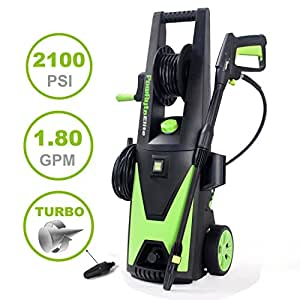 PowRyte Elite Electric Pressure Washer, 2100PSI, 1.80GPM Power Washer with Hose Reel and Extra Turbo Nozzle, Tall Handle