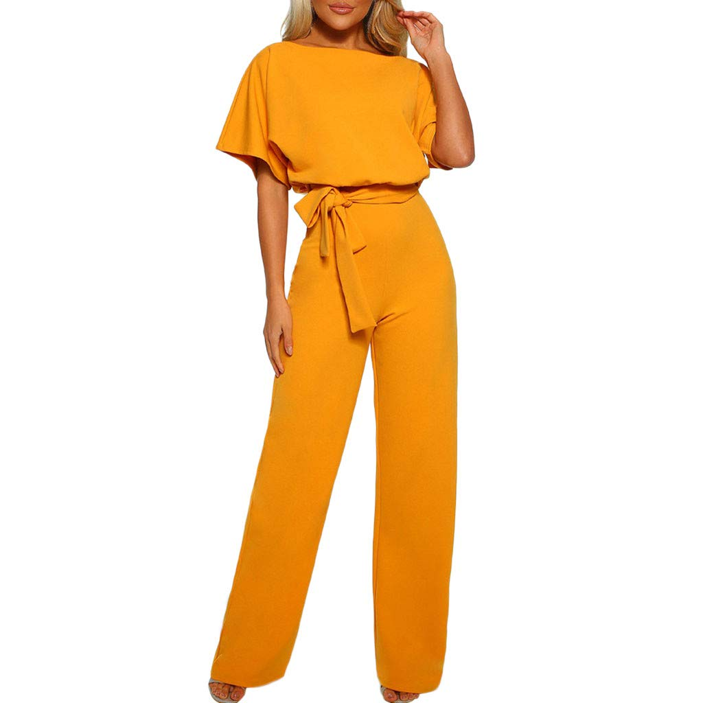 Women Long Wide Leg Jumpsuits Pants with Belt Casual Short Sleeve Fashion Solid Party Playsuit Clubwear Rompers Daorokanduhp