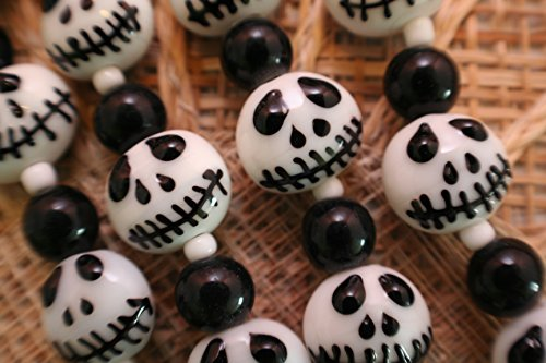Halloween Jack Skeleton Lampwork Glass Beads(Pack of 12