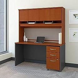 Bush Business Furniture Series C 60W x 24D Office Desk Hutch Mobile File Cabinet in Auburn Maple
