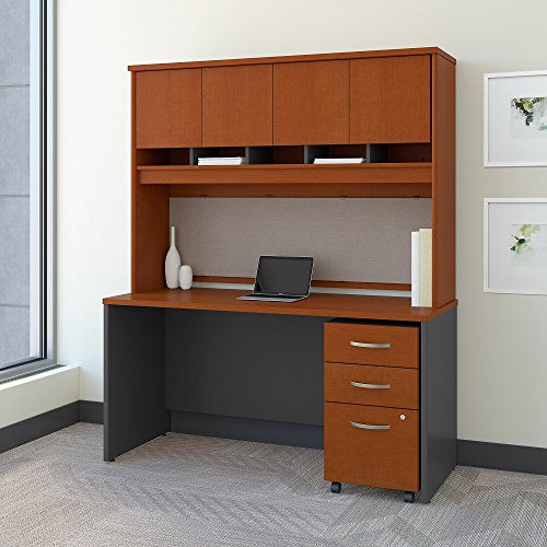 Bush Business Furniture Series C 60W x 24D Office Desk Hutch Mobile File Cabinet in Auburn Maple ()