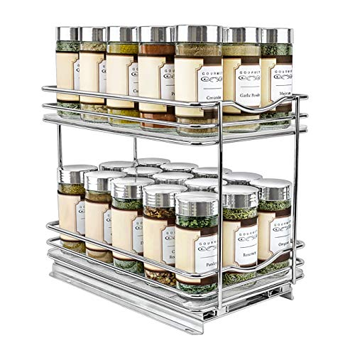 Lynk Professional 430622DS Slide Out Spice Rack Double Cabinet Organizer, 6