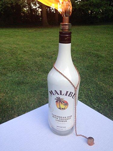 Tiki Torch - Malibu Caribbean Rum Bottle - Oil Lamp - Outdoor Lighting - Garden Decor - Rum Decor