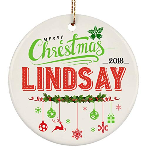 (Decorations Ornament - Baby Name Christmas 2018 Lindsay - Ceramic Ornament 3 inches White )