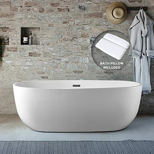 Tub Freestanding BATH MASTER Acrylic Contemporary Bathroom Soaking Tub with Chrome Overflow and Drain Easy to Install cUPC Certified (67