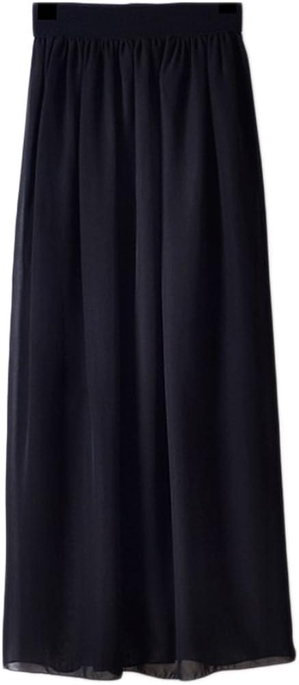 Falda Mujer Larga de Gasa Casual Cintura Alta Color Sólido Midi ...