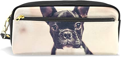 Estuche para lápices con diseño de bulldog francés de gran capacidad, con doble cremallera duradera para la oficina escolar, estuche para lápices y cosméticos: Amazon.es: Oficina y papelería