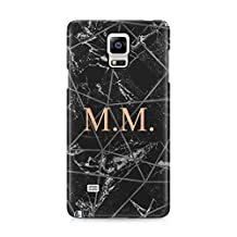 Personalised Customizable Letters Name Initials Custom Quote Black Geometric Marble Protective Hard Plastic Case Cover For Samsung Galaxy Note 4