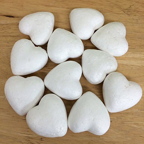 PEPPERLONELY 10PC White Styrofoam Heart Shape Balls, DIY Bubble Ball for Nylon Stocking Flower Accessories and Wedding, Party, School and Modeling Projects, 5cm (2 Inch)