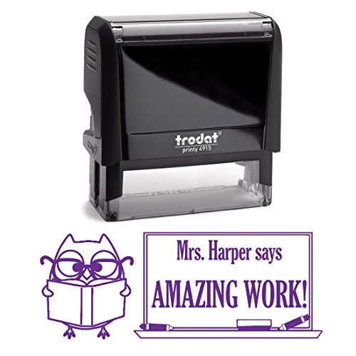 Purple Ink, Owl Reading a Book Awesome Job Teacher Stamp,...