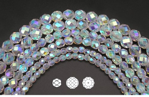 8mm (153) Crystal AB2X fully coated, 3x16in strands, Czech Fire Polished Round Faceted Glass Beads