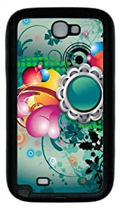 Abstract Art Flowers Color Pattern TPU Rubber Samsung Galaxy Note 2/ Note II/ N7100 Case Cover - Black