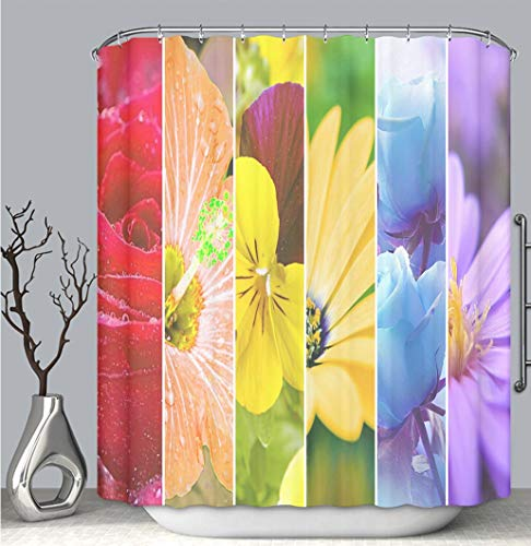 BEICICI Color Shower Curtain Liner Anti-Mildew Antibacterial, Rainbow Stripes Flowers Wallpaper Large XXXL Image Multi-Color,Custom Shower Curtain Bathtub Bathroom Accessories.
