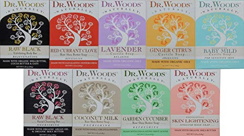Dr. Woods Natural Pure Castile Bar Soaps made with Moisturizing Organic Shea Butter, 5.25 Ounce Bars Variety 9 Pack