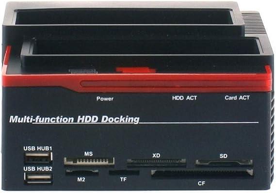 USB3.0-SATA//IDE-Universal-Festplattenleser Festplatten-Dockingstation HUB-Reader f/ür Windows 2000 // XP//Vista // Win7 // 8 // Linux EU Bewinner 2,5//3,5-Zoll-Doppelschacht-Dockingstation