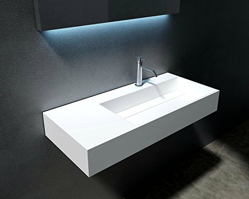 Waterloo 35 inch Bathroom Wall Mounted Basin Vessel Sink Square (Right)