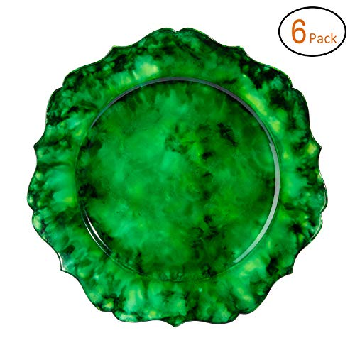 FANTASTIC :) Round 13 Inch Plastic Charger Plates With Marble Finish (6, Jade Green)