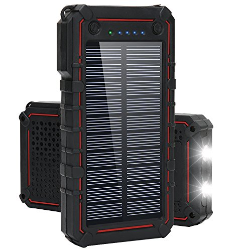 Solar Charger, Titita 13500 mAh Solar Power Bank, Waterproof/Shockproof/Dustproof Solar Phone Charger Dual USB Battery Bank with 2 LED Light Carabiner for Emergency Travelling Camping, iPhone, Android