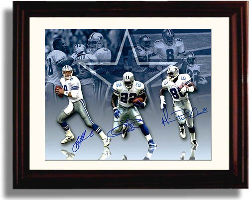 Framed Troy Aikman, Emmit Smith, and Michael Irvin Autograph Replica Print