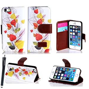 Candywe Apple iPhone 5c Colorful Picture Leather Wallet Case Cover with Clear Slot for ID, Credit Card Slots and Hidden Slot for Cash