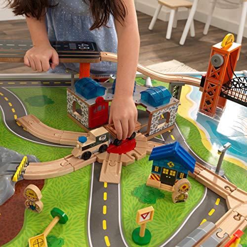 KidKraft Railway Express Wooden Train Set & Table with 79Piece & Two Storage Bins