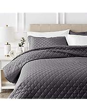 AmazonBasics Oversized Quilt Coverlet Bed Set - Full or Queen, Dark Grey Diamond