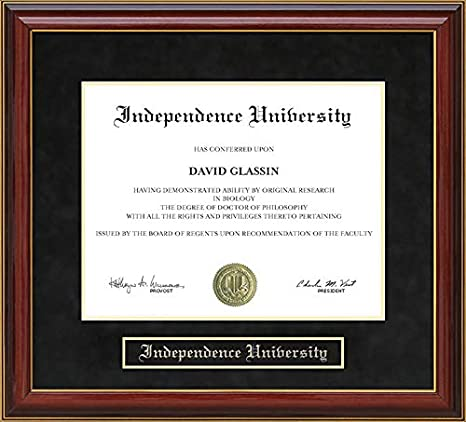 Amazon Com Wordyisms Independence University Mahogany Diploma Frame