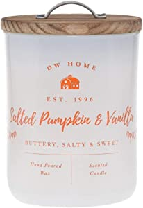 DW Home Charming Farmhouse Collection Salted Pumpkin & Vanilla Scented 2 Wick Candle Topped with a Rustic Wooden Lid