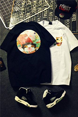 3c37b5da69 Amazon.com : clothes tide Korean version cartoon cat personality cotton  Port wind girlfriends lovers short-sleeved shirts for men and women for women  girl : ...