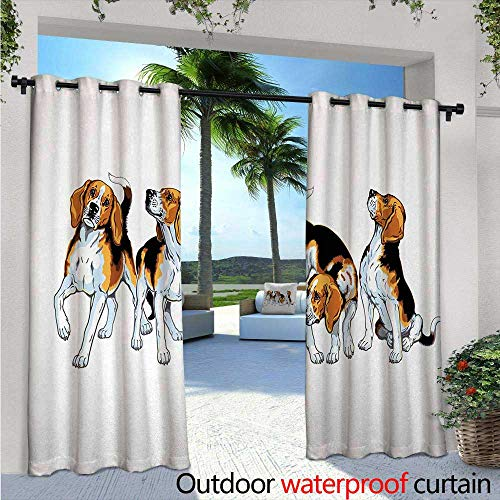 Beagle Exterior/Outside Curtains Four Beagle Hounds Siblings Playing Foxhound I Love My Dog Breed Theme for Patio Light Block Heat Out Water Proof Drape W120 x L96 Brown White and Black