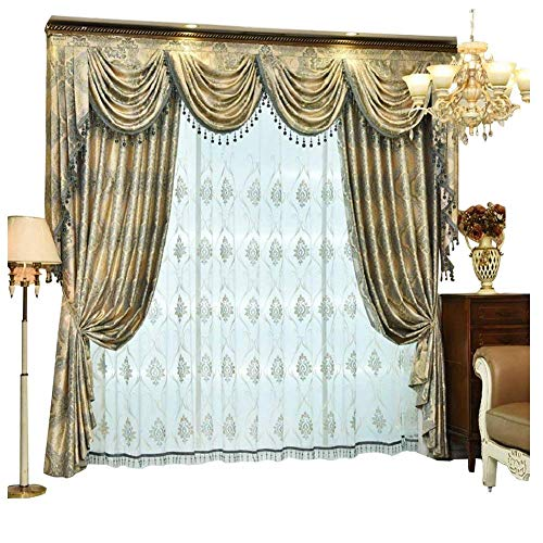 (Queen's House Curtains for Living Room Blackout Curtain Drapes Custom Size-B)