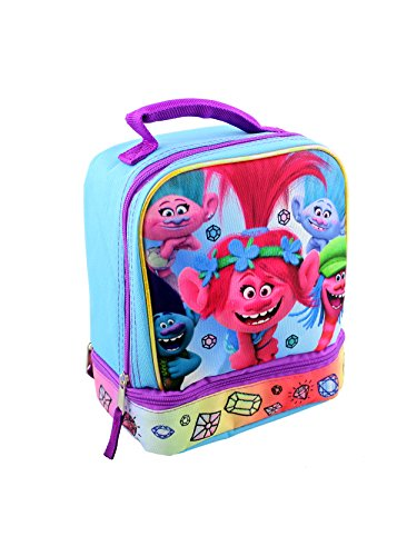 Trolls Dual Compartment Soft Lunch Box (Blue/Pink) by Trolls Movie