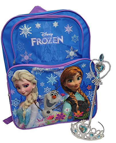 Frozen Exclusive Elsa & Anna Blue Backpack 16'' and Tiara Crown with Wand Silver with Blue Elsa and Anna Heart JewelSet