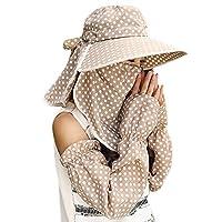 Guerbrilla Women Wide Brim Summer Sun Flap Cap Hat Neck Cover Face Mask UPF 50+ (4329-khaki)