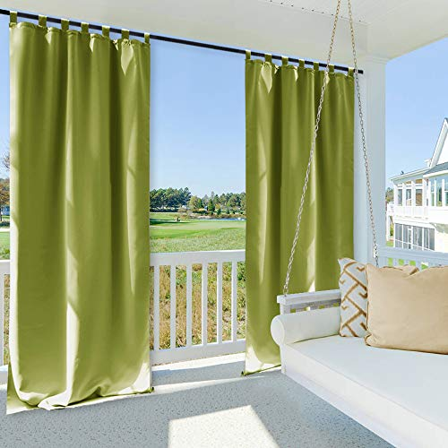 NICETOWN Outdoor Drape and Curtain for Pergola, Window Treatment Energy Saving Thermal Insulated Indoor Outdoor Blackout Curtain with Tab Top for Living Room (1 Piece, 52 by 108 inches, Fresh Green) (Privacy Screen Modern Outdoor)