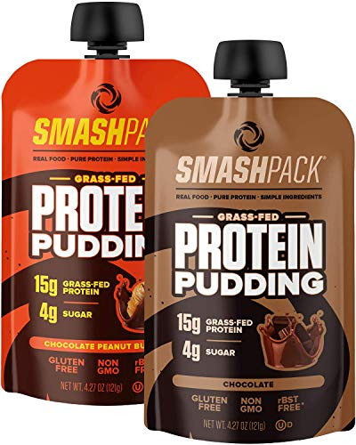 SmashPack Protein Pudding Pouch Variety Pack 6 Pack | 15g Grass-Fed Protein, 4g Sugar | Keto Friendly, Gluten Free, Soy Free, Non-GMO, Low Carb Snack, RBST Free | BPA Free Packaging | 4 oz Pouches
