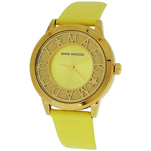Mark Maddox Ladies Fancy Goldtone Yellow Analogue Dial PU Strap Watch MC0005-60