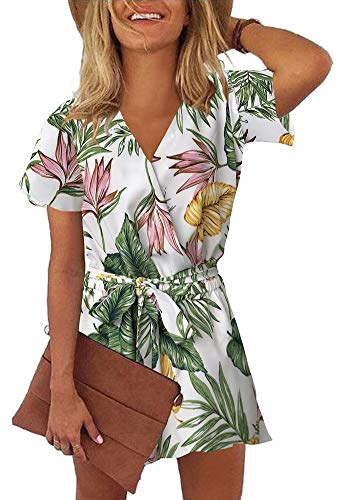 REORIA Womens Casual Summer One Piece Ruffles Short Sleeve V Neck Tie Front Belted Wrap Playsuits Short Jumpsuit Beach Rompers Floral Printed White ()