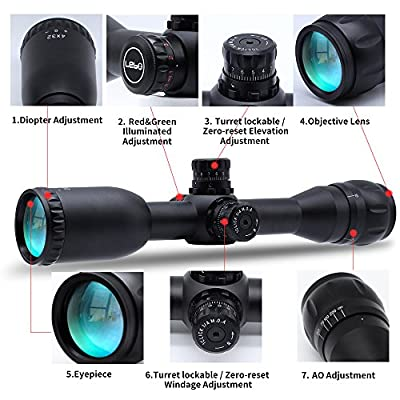 Tactical Optics 4X32 AOME AR15 Rifle Scopes HD R&G Illuminated Mil-Dot Reticle/AO Adjustment /Turret Lockable/Hold Zero for Outdoor Hunting