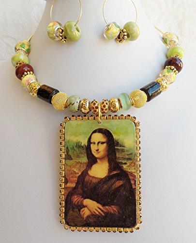 Mona Lisa Painting Repro Necklace earrings European Beads Vintage Rhinestones (Claires Rhinestone)