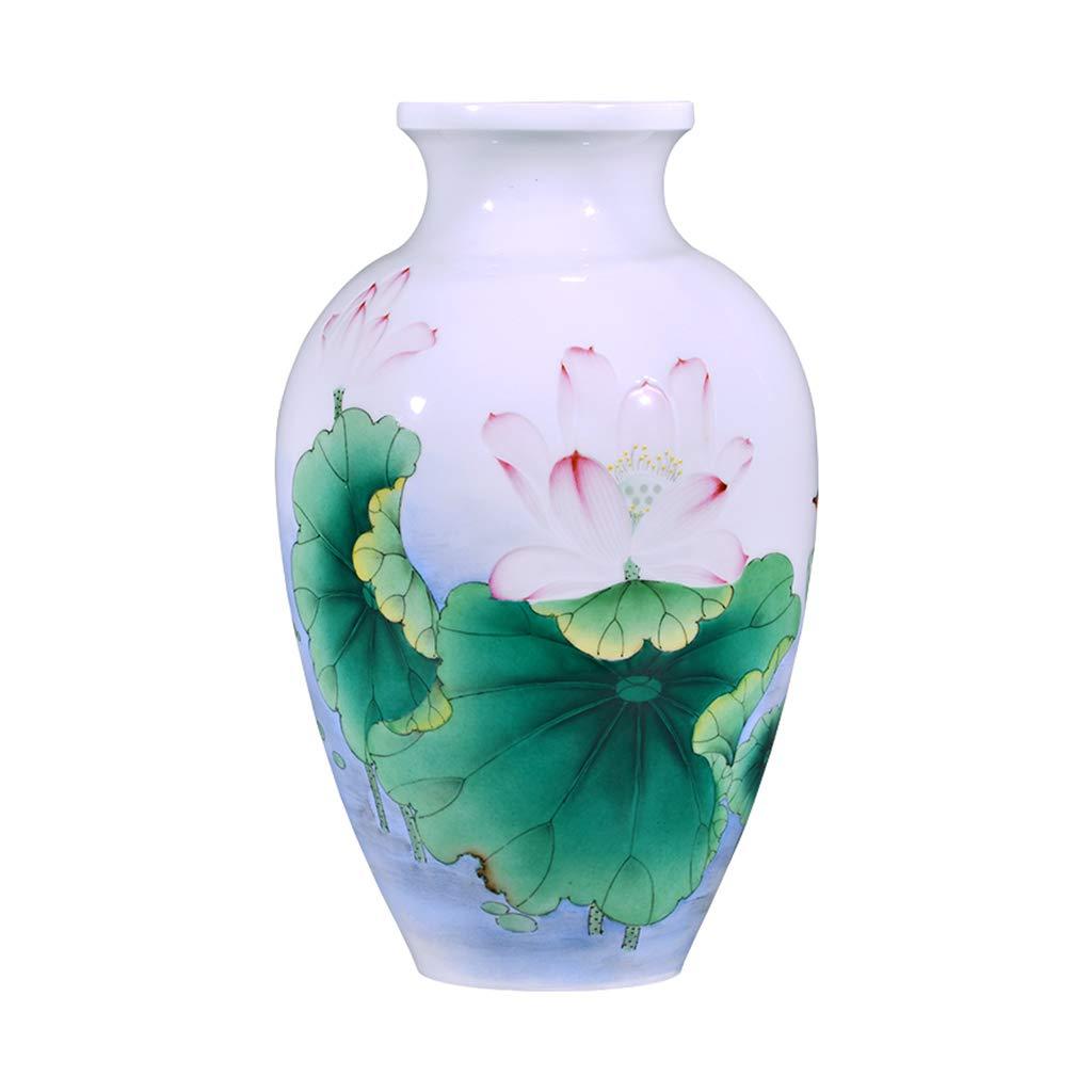花瓶セラミック手描きの花瓶のリビングルームの家具新しい中国の花の配置アートのポーチの装飾品 (Color : 白, Size : 20*20*33cm) B07K7K1Q7D 白 20*20*33cm