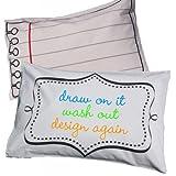 Stitch Doodle - Funda de almohada (algodón, se puede pintar con rotulador), diseño de hoja de libreta