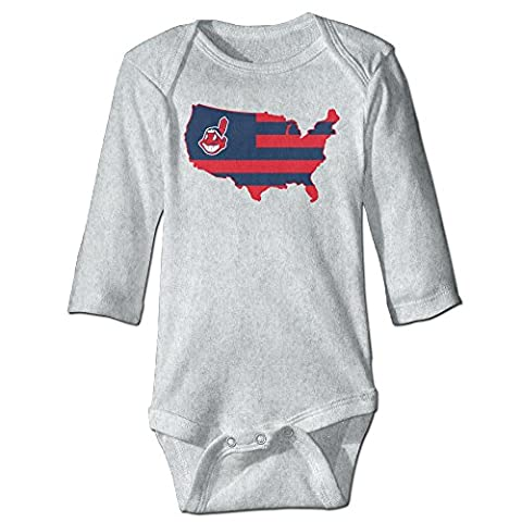 Kids Baby Chief Wahoo Tribe BROAD STRIPES USA Long-sleeve Romper Jumpsuit Ash - Wahoo Shorts