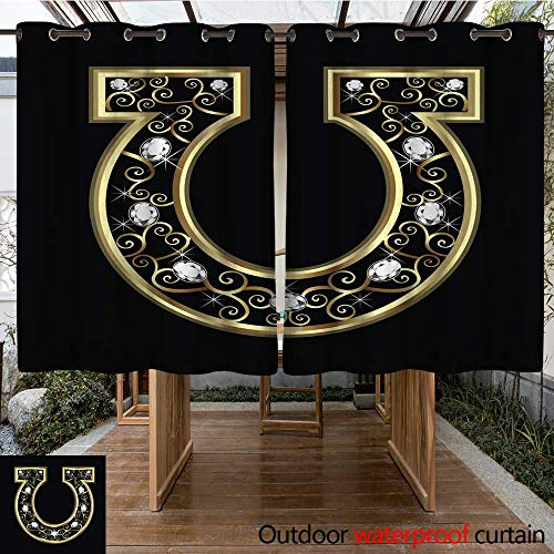 RenteriaDecor Outdoor Ultraviolet Protective Curtains Gold Horseshoe icon icon W96 x L72