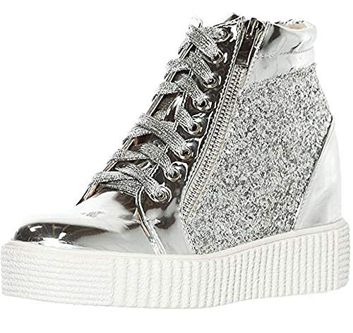 - shoewhatever Women's Metallic Glitter High Top Lace Up Wedge Heels Fashion Sneakers