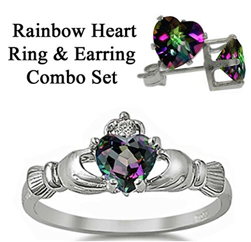 Sterling Silver Simulated FIRE Rainbow Topaz Mystic HEART Royal Claddagh Irish Ring & Earring (Mystic Topaz Heart)
